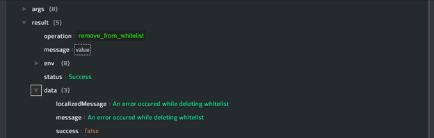 Sample output of the Remove From Whitelist operation
