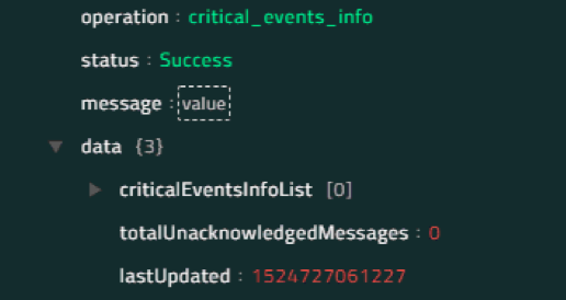 Sample output of the Get Critical Events Information operation