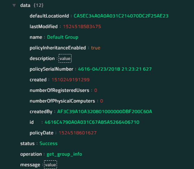 Sample output of the Get Group Information operation