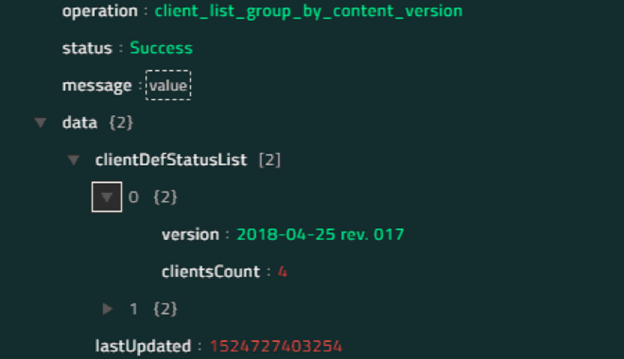 Sample output of the List Client For Group By Content Version operation