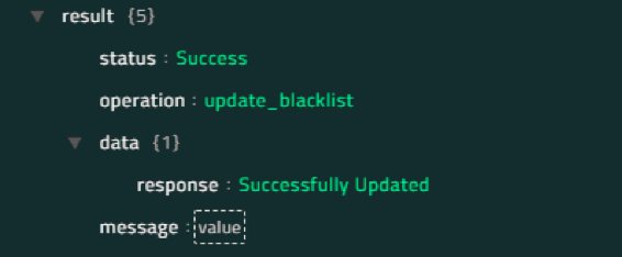 Sample output of the Update Blacklist operation
