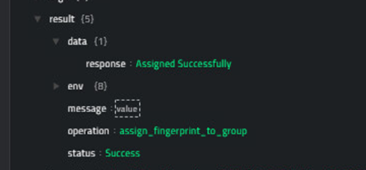 Sample output of the Assign Fingerprint List To Group operation