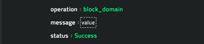 Sample output of the Blacklist Domain operation