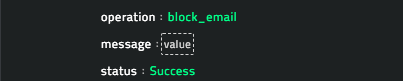 Sample output of the Blacklist Email Address operation