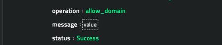 Sample output of the Whitelist Domain operation