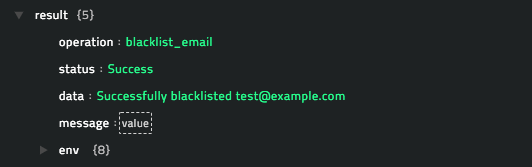Sample output of the Block Email operation