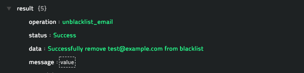 Sample output of the Unblock Email operation