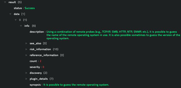 Sample output of the Get Vulnerability Information operation