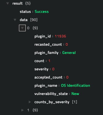 Sample output of the List Asset's Vulnerabilities operation