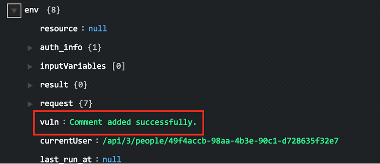 Sample output of the Add Comment To Vulnerability operation