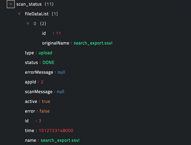 Sample output of the Check Pending Scan Status operation