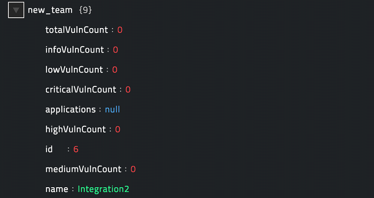 Sample output of the Create Team operation