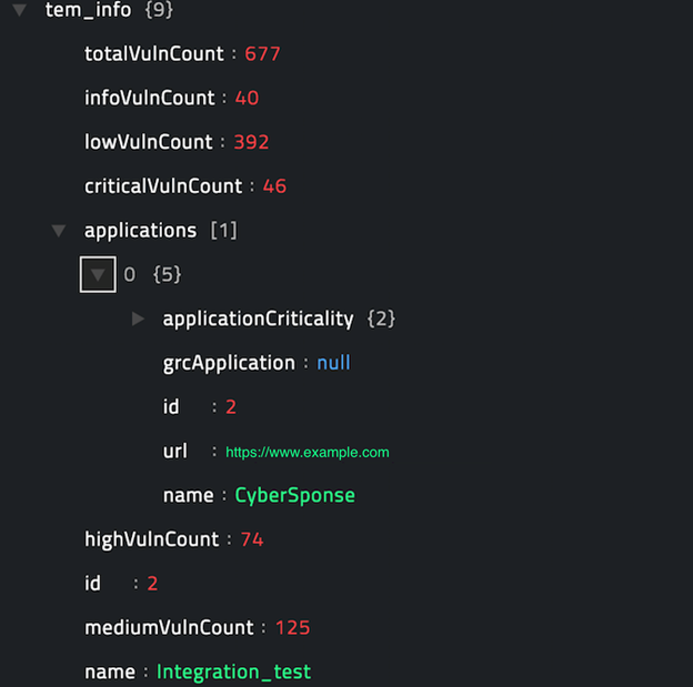 Sample output of the Get Team Details operation