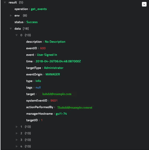 Sample output of the Get Events operation