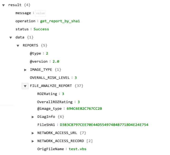 Sample output of the Get Sample Report Using SHA1 operation