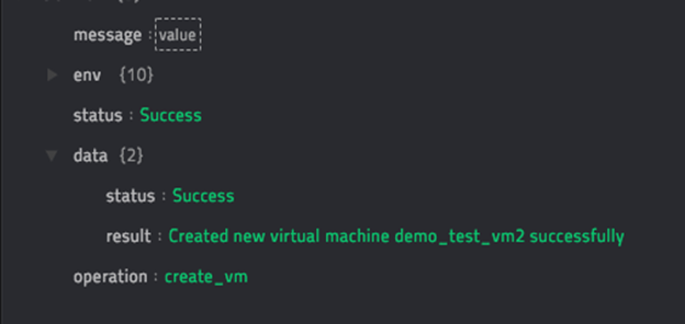 Sample output of the Create VM operation
