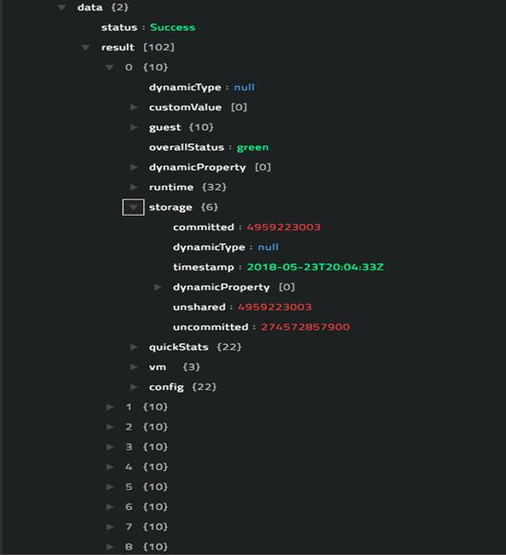 Sample output of the Get Registered VMs List operation