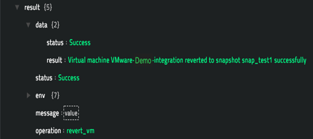 Sample output of the Revert VM operation