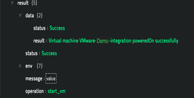 Sample output of the Start VM operation