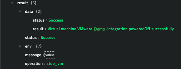 Sample output of the Stop VM operation