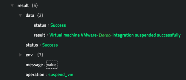 Sample output of the Suspend VM operation