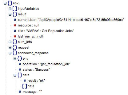 Sample output of the Get Reputation Jobs operation