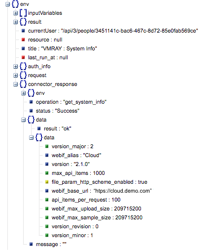 Sample output of the Get System Information operation