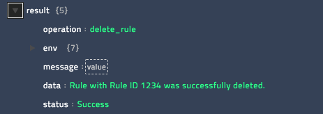 Sample output of the Delete Rule operation