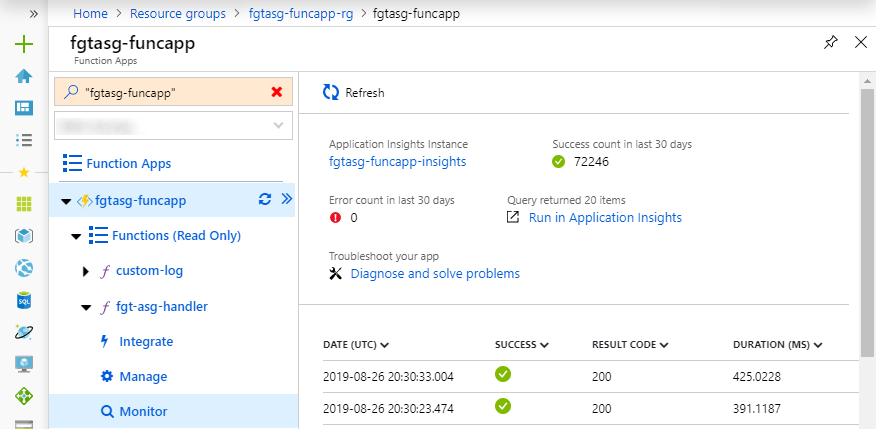 Application Insights logs
