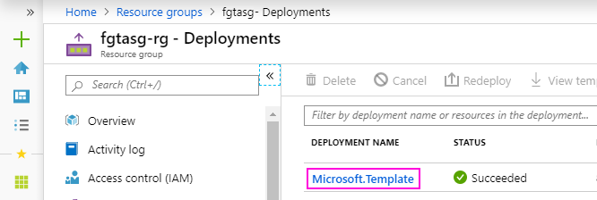 Deployments page
