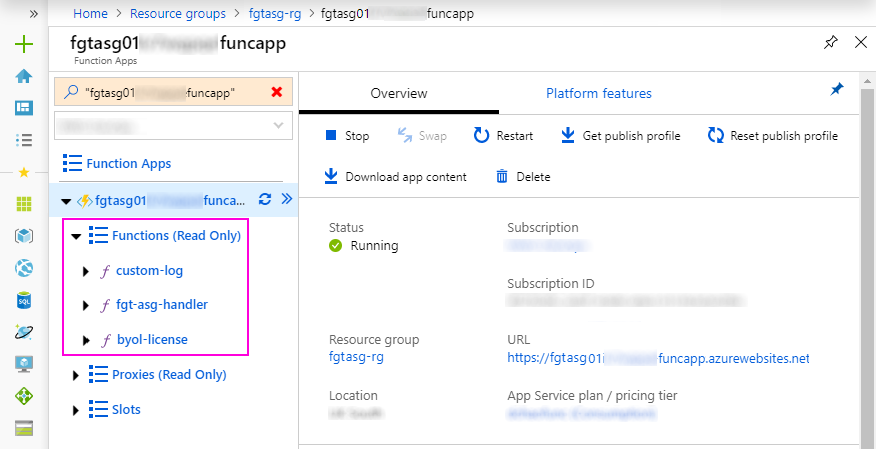Function App overview page