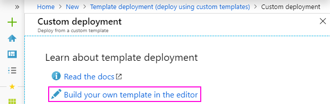 """Click """"Build your own template in the editor"""""""