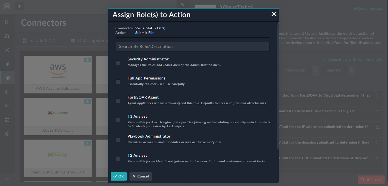 Connector Configuration - Assign Roles to Action icon