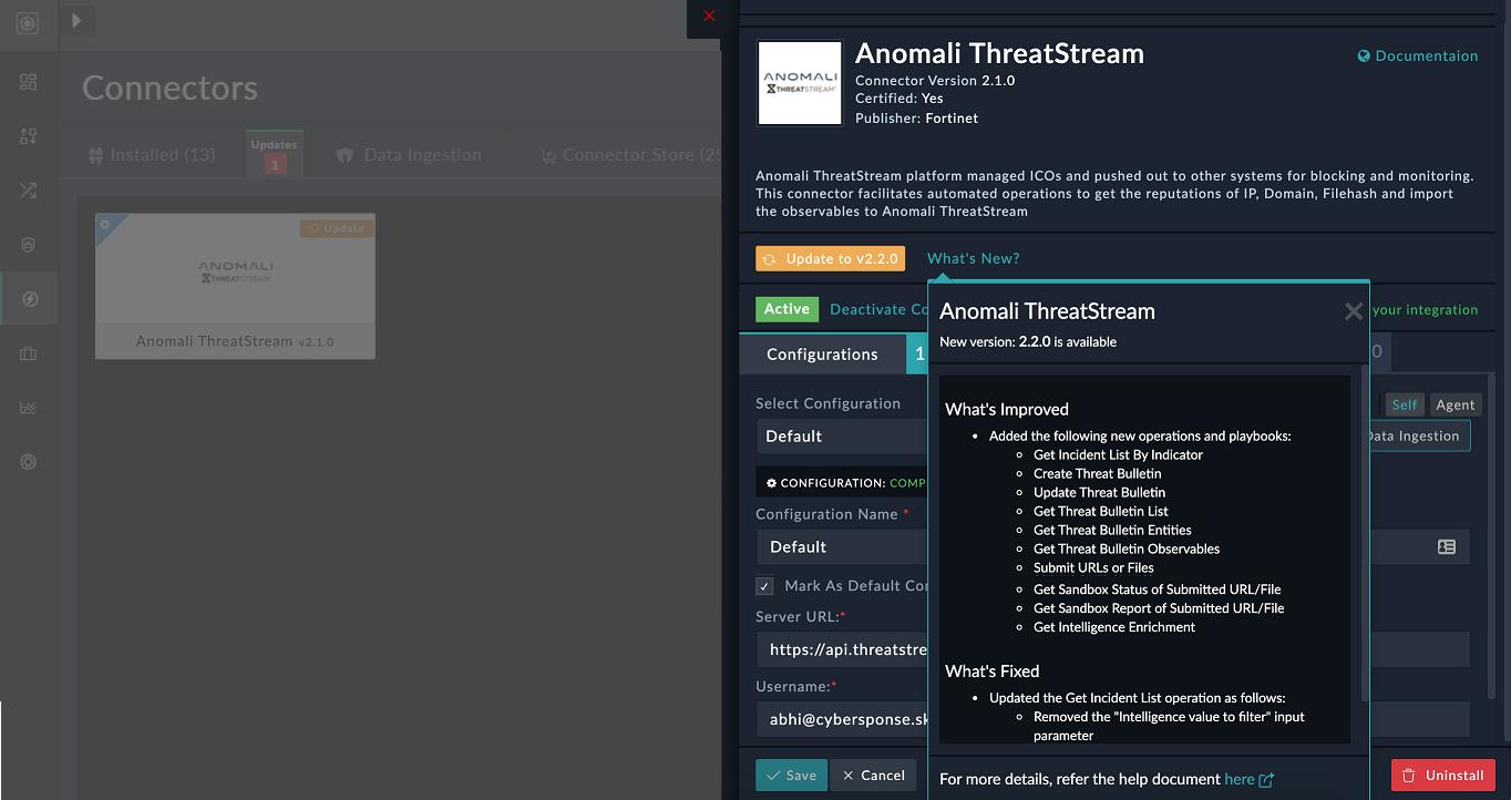 Connector Updates screen