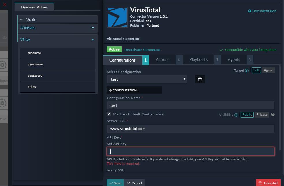 Connector Configuration - Vault Option