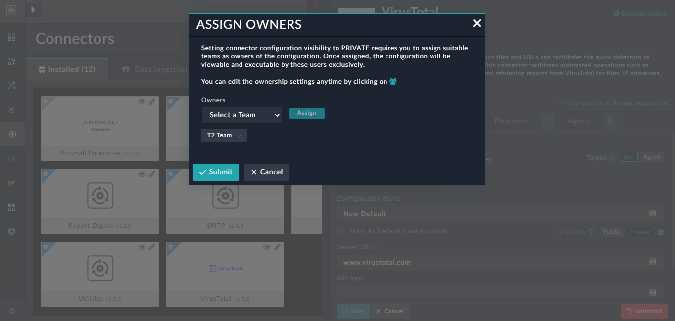 Connector Visibility - Assign Owners dialog