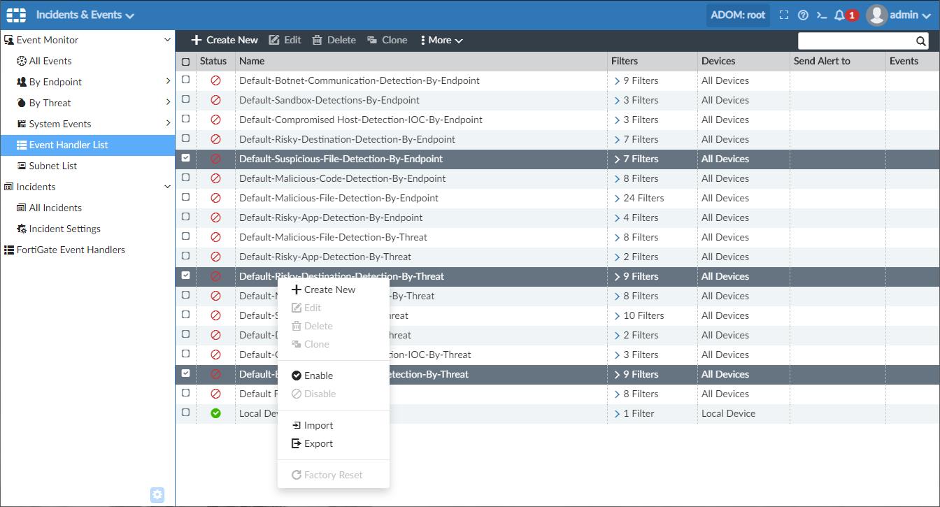 Screenshot displayinig Incidents & Events export