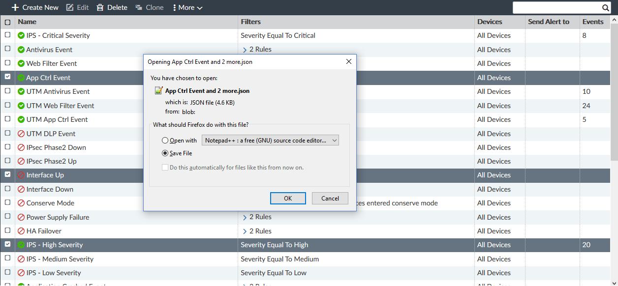 Screenshot displaying export file being saved.