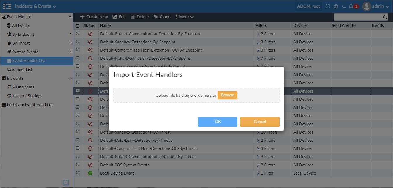 Screenshot displaying import of event handlers.