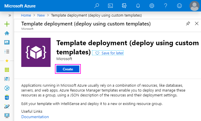 Create Template deployment