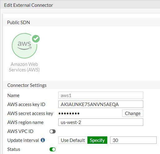 Screenshot of SDN connector configuration for Amazon EKS