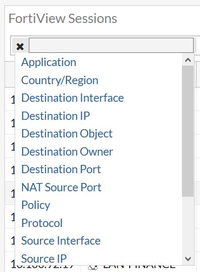 FortiAP Sessions filters menu