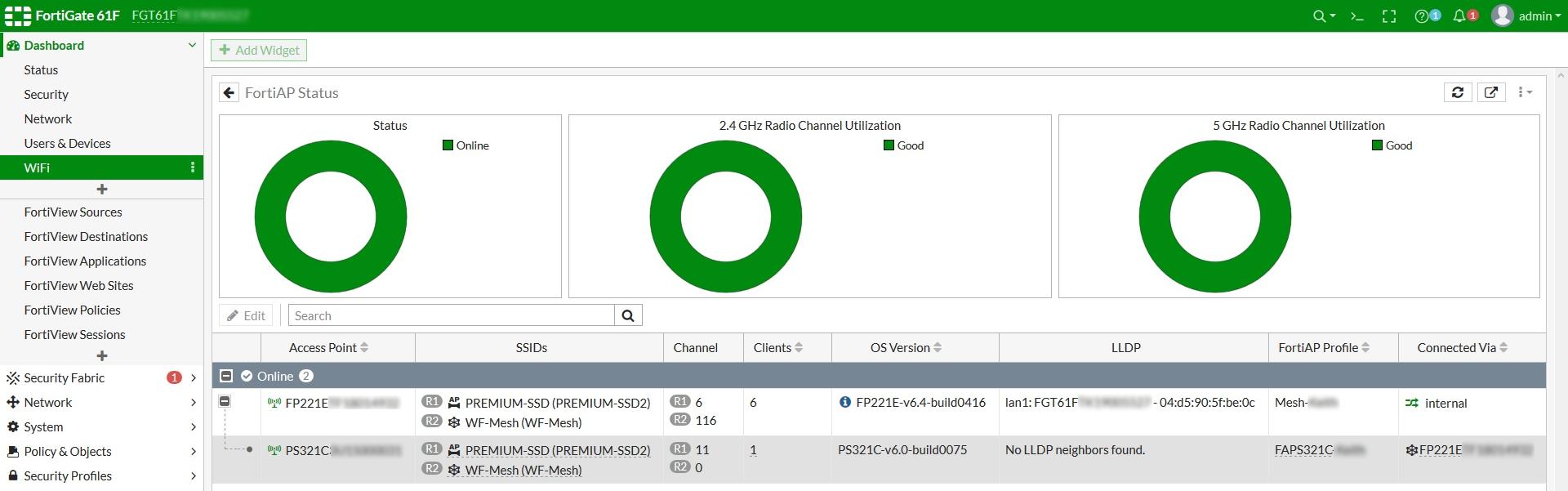 FortiAP Status monitor