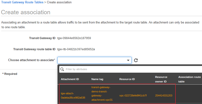 Select created attachment