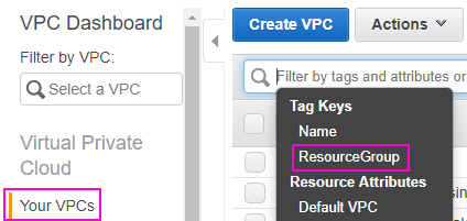 Filter VPC by the Tag Key ResourceGroup