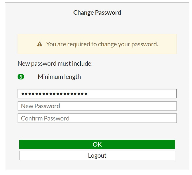 FortiGate change password prompt