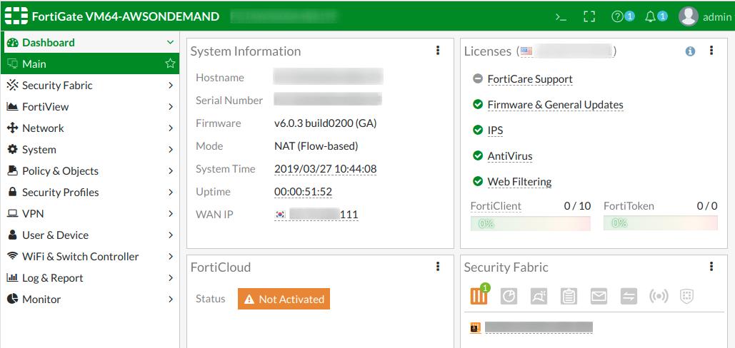 FortiGate-VM dashboard