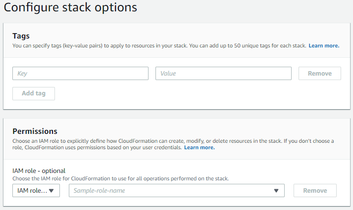 CloudFormation Create Stack Basic Options
