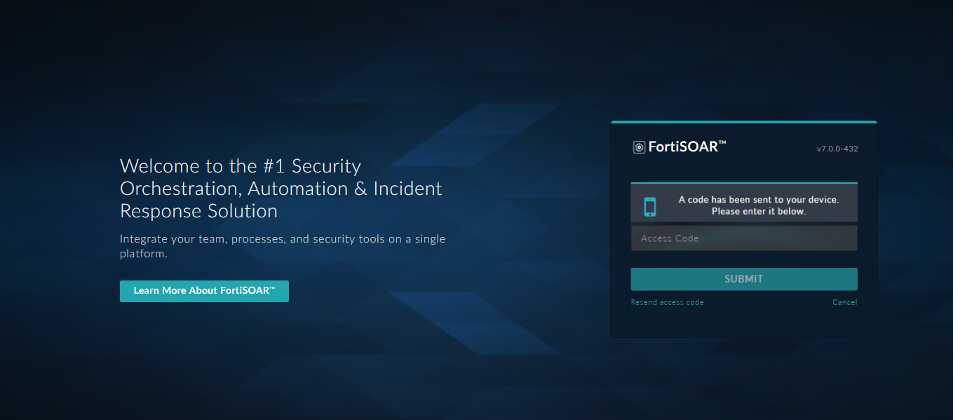 FortiSOAR™ Login Screen with 2FA