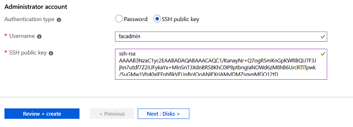 SSH Public Key selection in Azure FortiAuthenticator setup